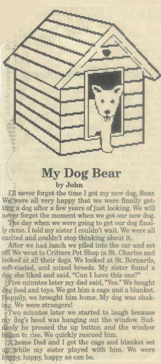 My Dog Bear Newspaper clipping